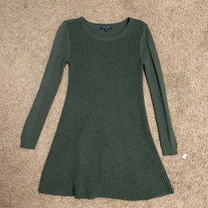 Dark green knit winter sweater dress